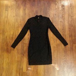 Bongo Black Lace Body Con Dress - Size Small